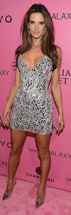 Who made Alessandra Ambrosio's silver dress and silver pumps that she wore in New York?