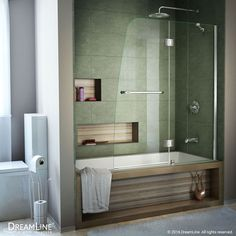 DreamLine Aqua 48 in. Frameless Hinged Tub Door, Clear 1/4 in. Glass Door, Chrome Finish