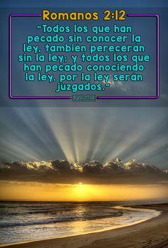 """- Romanos 2:12 - """"Todos los que han pecado sin conocer la ley, también perecerán sin la ley; y todos los que han pecado conociendo la ley, por la ley serán juzgados."""""""