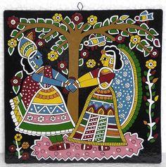 Dancing Radha Krishna  - Wall Hanging (Madhubani Folk Art on Hardboard))