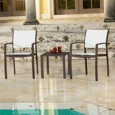 Source Outdoor Fusion Stackable Chat Set by Source Outdoor. $716.99. Chair dimensions: 19L x 22W x 34H in.. Choice of powder-coated finishes. Crafted of weather-resistant aluminum frame. Quick-dry sling seats are ideal by the pool. 2 comfortable stackable sling chair and an end table. With its quick-dry sling seats, the Source Outdoor Fusion Stackable Chat Set is ideal for poolside entertaining, but looks gorgeous wherever you live. Clean lines and a modern fl...