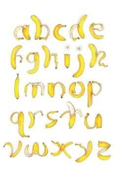 banana alphabet by jenna taylor Lettering Styles, Lettering Design, Logo Design, Lettering Tutorial, Candy Letters, 3d Letters, Alphabet Design, Food Alphabet, Banana Art