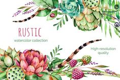 Rustic watercolor collection by Kate_Rina on Floral Illustrations, Botanical Illustration, Botanical Art, Graphic Illustration, Watercolor On Wood, Wreath Watercolor, Watercolor Paintings, Watercolors, Artichoke Flower