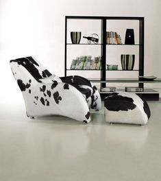 Modern Lounge & Chaise furniture in Black/White - Features: Upholstered in High Grain Natural Cow Hide, Comfortable and Attractive Design and more. -- http://www.lafurniturestore.com