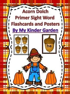 Here is a set of acorn Dolch Primer Sight Word Cards that can be used at the beginning of the school year or anytime. The set includes a full page card and a small card for each word from the Dolch Primer list.