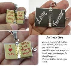 """Couples """"Love Story"""" Book Pendants His & Her Necklace Set"""