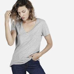 cotton heather gray casual v neck tee shirt