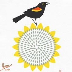bird. #yellow #flower #illustration