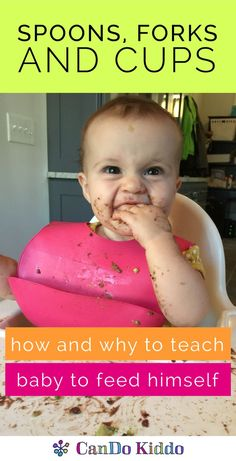 Teach baby to use a spoon, fork and cup - tips from an OT and feeding therapist for mealtime independence. What Baby-Led Weaning / BLW doesn't teach you! CanDoKiddo.com