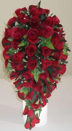 Red Silk Rose Diamante Crystal Shower Teardrop Wedding Flower Bouquet | eBay