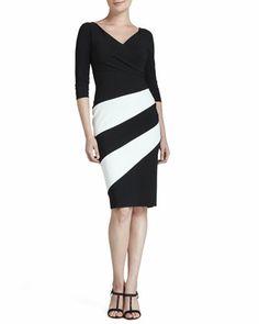 Dana Colorblock Jersey Cocktail Dress, Black/White by La Petite Robe by Chiara Boni at Neiman Marcus.