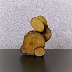 Knutselen met houtplakjes: (paas) haas (+ uitgebreide foto werkbeschrijving)