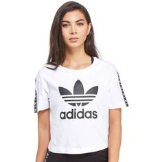 4e936724bfe adidas Originals Tape Crop T-Shirt (£25) ❤ liked on Polyvore featuring