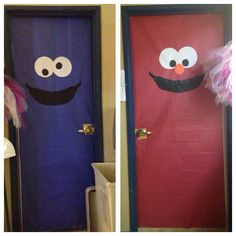 Sesame Street bathroom door decorations!! Cookie Monster and Elmo!