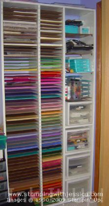 What's the best way to store your card stock? I like to store mine flat so that it doesn't bend. Here's the card stock shelf that my husband built for me a few years ago. I admit that I am a bit of an organizational junkie, but I love being able to see what I have and know where to find it. This shelfhas room for all of mycard stock, plus most of my other accessories. As you can see in the photo below, there is a place for 12″x12″ card stock and a place for 8-1/2″x11″ card stock....