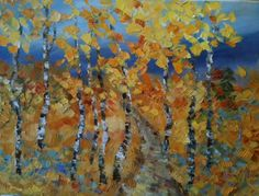 """Daily Painters Of Colorado: """"Autumn Tapestry"""" Original Palette Knife Aspen Tree Landscape Painting by Colorado Impressionist Judith Babcock"""