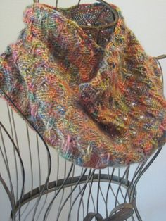 Eiffel Tower Eyelet Cowl: made with roughly 200 yards of dk-weight yarn and size 6 needles