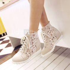 Zapatos de mujer Semicuero Tacón Cuña Cuñas Zapatos de Deporte Oficina y Trabajo/Vestido Negro/Blanco/Beige - USD $31.95