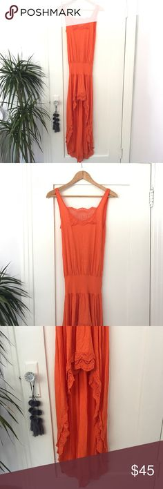 Nightcap Orange High Low Dress Supima Cotton and Lace Tank Dress with low back and high low Skirt. Elastic waist. Size 1/XS Nightcap Dresses High Low