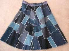 vintage 1960s denim patchwork skirt uneven patches