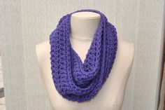 Long purple crocheted cowl by DaisyElizaDesigns on Etsy