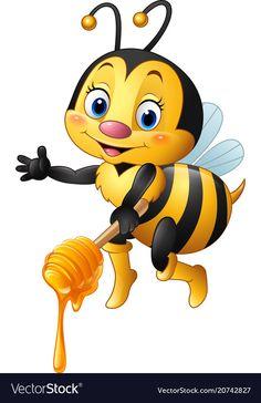 Illustration about Illustration of Cartoon bee holding honey dipper. Illustration of nature, comic, illustration - 77652171 Cartoon Cartoon, Cartoon Drawings, Bee Cartoon Images, Animal Drawings, Baby Animals, Cute Animals, Bee Pictures, Bee Images, Honey Images