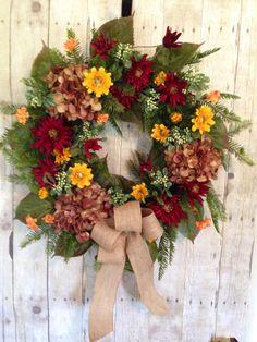 Fall Wreaths, Fall Front Door Wreath, Summer Wreaths, Marigold Wreath, Door  Wreath, Grapevine Outdoor Wreath, Birds Nest Wreath For Summer