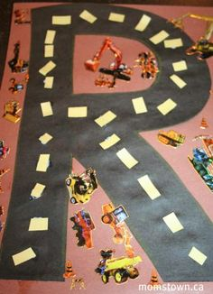 R is for Road! Get your wheel loving boy to the craft table with this motor focused activity