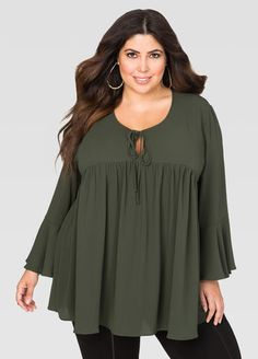 8b69749283b Tie Neck Swing Top-Plus Size Tops-Ashley Stewart-035-TLW13167WG740