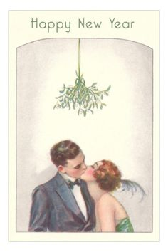 Sharing that midnight New Years kiss with 'that' certain someone - your 'only' someone (New Year Kiss...c.1920)