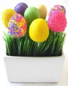 Easter egg cake pops with grass