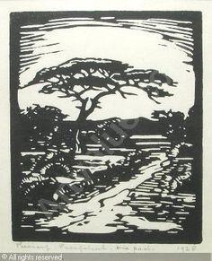 J-H Pierneef - Die Eensame pad South Africa Art, Bonsai Art, South African Artists, October 20, Art Images, Vintage Art, Printmaking, Landscape Paintings, Lino Prints