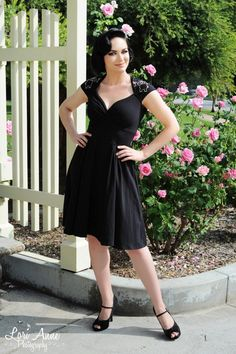 Pinup Couture - The Luscious Dress in Black with Edward the Elephant