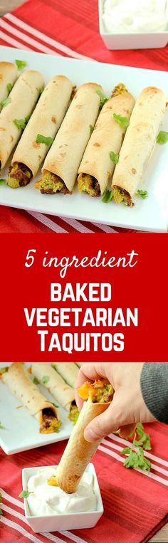 Vegetarian Baked Taquitos {5 ingredient!}
