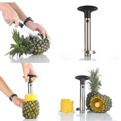 1 Pc x Easy Kitchen Tool Stainless Steel Fruit Pineapple Corer Slicer Cutter Peeler. Makes Perfectly shaped pineapple rings. Retains the juice in the pineapple. Easy to Clean made of Stainless Steel and Plastic Handle. Pineapple Slicer, Cut Pineapple, Pineapple Kitchen, Kitchen Tools, Kitchen Gadgets, Kitchen Dining, Kitchen Products, Kitchen Items, Kitchen Appliances