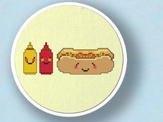 +This item is available for instant digital download* A happy hot dog counted cross stitch pattern! A smiling hotdog is hanging out with his