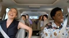 Carpool Karaoke: The Series - 'Stranger Things' Cast - Apple TV app Stranger Things Actors, Stranger Things Funny, Stranger Things Netflix, Millie Bobby Brown, Karma, Celebs, Celebrities, Best Shows Ever, Movies And Tv Shows