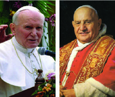 An overview of the lives of Pope John XXIII and Pope John Paul II, as well as their paths to sainthood.