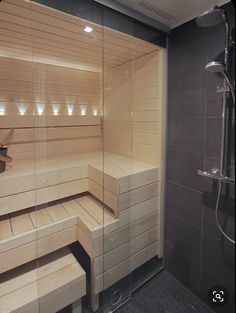 Our tiny city sauna. It's so small, it's hard to take a pic of the space - but it works perfectly. Bathroom Spa, Bathroom Toilets, Bathroom Layout, Bathroom Interior, Interior Garden, Interior Design, Spa Sauna, Sauna Shower, Sauna Steam Room