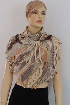 Ivory Beige Brown Chunky Freeform Crochet by levintovich on Etsy Freeform Crochet, Crochet Shawl, Crochet Art, Crochet Patterns, Crochet Jumper, Crochet Scarves, Crochet Clothes, Crochet Triangle, Irish Lace