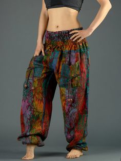 0eb9f9558afc Indian Flowers Harem Pants - High Crotch - Forgotten Tribes Harem Pants Uk