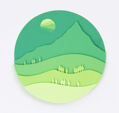 3D Paper Art Green Mountain от POWpaper на Etsy