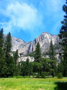 Mountain Stream by GenesysPhotography.deviantart.com on @deviantART | Waterfall. Mountains. Trees. Field. Meadow. Grass. Clouds. Sky. Yosemite.