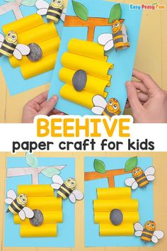 Beehive Paper Craft for Kids It's time to do something creative with a beehive. Create this Beehive Paper Craft is a craft that any child would enjoy doing. K Crafts, Flower Crafts, Easy Crafts, Spring Crafts For Kids, Paper Crafts For Kids, Spring School, Fun Activities To Do, Easy Peasy, Kids And Parenting