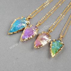 Wholesale Items Arrowhead Gold Plated Rainbow Quartz Necklace Golden Electroplated Quartz Jewelry Natural Gemstone Jewelry G0525-N by Druzyworld on Etsy