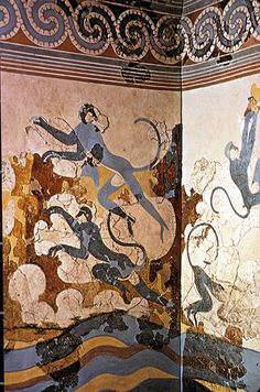 Landscape with blue monkeys, a fresco from Akrotiri (Santorini), or ancient Thera, Greece