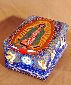 Cold School Lunches, Painted Wooden Boxes, Blessed Mother Mary, Mexican Designs, List Of Artists, High School Art, Mexican Folk Art, Virgin Mary, Our Lady
