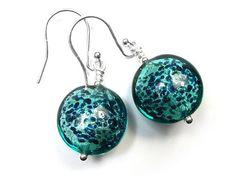 Murano Glass Lentil Earrings - Verde Macchiata Murano Glass Beads, Sterling Silver Jewelry, White Gold, Shapes, Pendant Necklace, Drop Earrings, Drop Earring, Drop Necklace