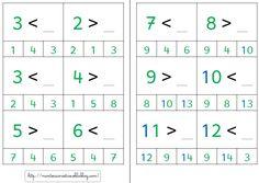 """< ou > : cartes à choix (version """"normale"""" et Montessori)"""