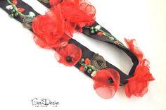Ceinture coquelicot rouge ceinture rouge poppie par GyaDesign